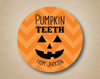Pumpkin Teeth Chevron Halloween Stickers Orange Treat Labels Candy Corn Favor Stickers Candycorn Halloween Sticker Halloween Party Favor