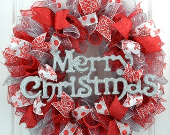 Red and Silver Merry Christmas Deco Mesh Front Door Wreath - Front Door Christmas Wreath