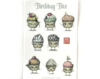 Crabby Cupcake Sticker Sheet - by Mab Graves