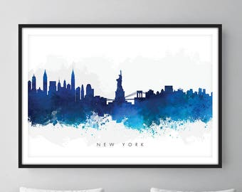 New York Skyline, NYC Cityscape, Art Print, Wall Art, Watercolor, Watercolour Art Decor [SWNYC06]