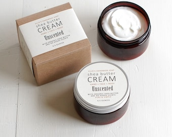 UNSCENTED Shea Butter Cream - with organic shea butter and no added scent - paraben free - 4.5 ounces
