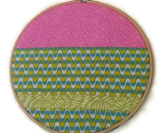 """Pink and Green 10"""" Embroidery Hoop Organiser / For the Home / For the office / Office storage / Hanging storage"""