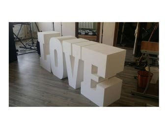 LOVE letters Set of 4 Giant styrofoam letter Table base letters Wedding letters Love centerpieces 30 inches tall 16 inches depth Huge letter