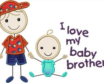 INSTANT DOWNLOAD Stick figures I love my big brother baby brother Applique designs