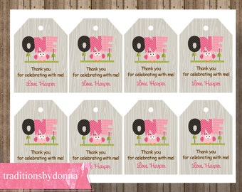 OWL FIRST BIRTHDAY Favor Tags for Girls/ Printable Girls First Birthday Owl Tags / Pink Owl Favor Tags / Woodland Owl Favor Tag 1st Birthday