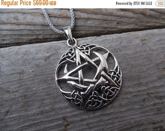 ON SALE Celtic five point star with a quarter moon necklace handmade in sterling silver