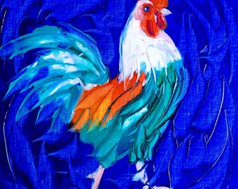 Rooster oil painting original, rooster painting, chicken art, kitchen art,kitchen painting, farm art, farm painting