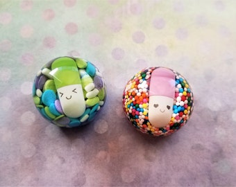 Happy pills and candy sprinkles resin magnets
