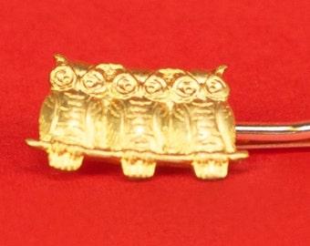 Brass Owls Hairpin