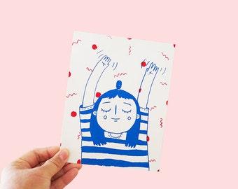 A5 Screen Print, Sleepy Print, Art Print, Illustration, Home Decor, Christmas Gift Idea, Cute Print, Cute Art Print,  Cute girl art print