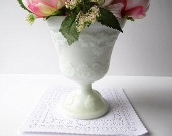 Vintage Milk Glass Vase/Planter EO Brody Ornate Pedestal