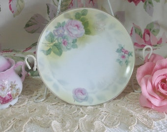 German Porcelain Hand Painted Pink Roses Plate, Cottage, Shabby Chic
