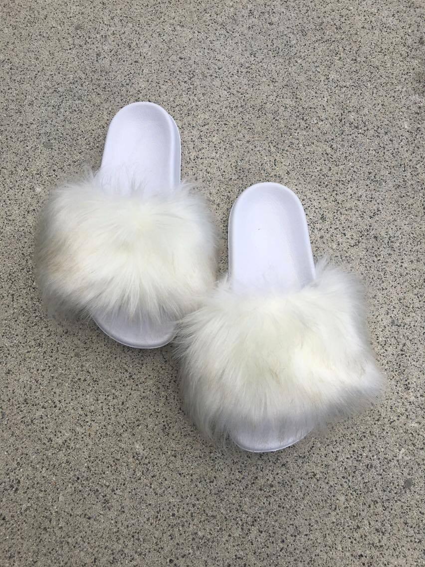 Color Slides Of New York City April 1979: SL Fluffy Slides Name Lily Color White Faux Fur Slippers