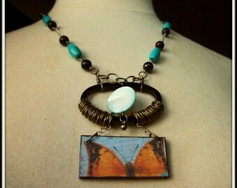 Oval Wood Ephemera Peeking Butterfly Necklace