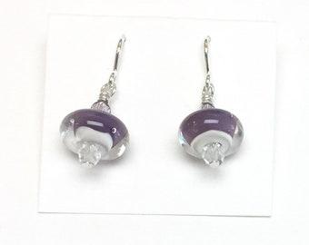 Purple & Ivory Mini Dangle French Hook Earrings