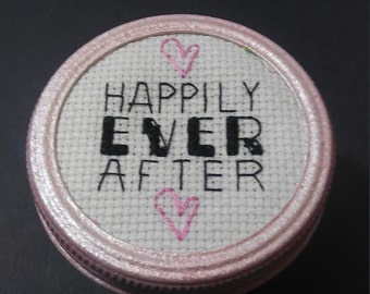 """Wedding Gift """"Happily Ever After"""" Gift in a Jar, Keepsake Jar,Completed Cross Stitch,Bridal Shower Gift,Finished Cross Stitch,Needlework Art"""
