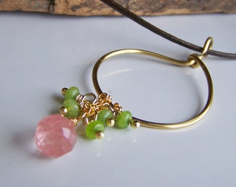 CLEARANCE Hoop Necklace, Strawberry Quartz and Green Jade Dangle Necklace,  Leather Cord Necklace, Etsy, Etsy Jewelry, Hoop Necklace