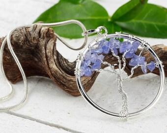 TANZANITE Tree of Life Pendant - Tanzanite Crystal, Tanzanite Necklace, Tanzanite Jewelry, Tanzanite Pendant, Tree of Life Jewelry E0901