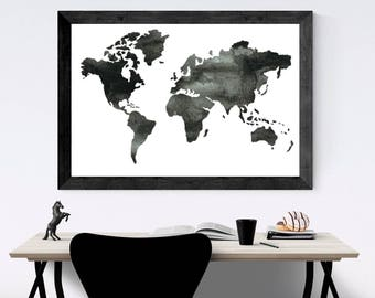 Black and white map, wall art, Watercolor World Map