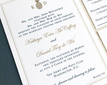Pineapple Wedding Invitation - Hawaii Wedding Invites  - Gold and Navy Wedding Suite - Thermography Wedding Invitation - Southern Weddings