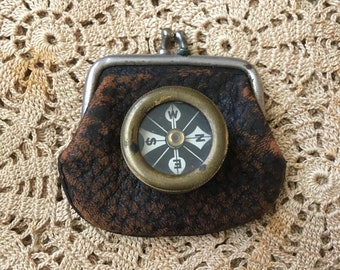 Boyscout Ready Always Antique 1930s Marbled Brass Pocket Compass