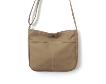 Small Canvas Crossbody Bag Purse Tan