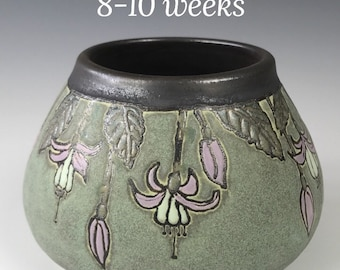Made To Order   Fuschias on Green   Craftsman Pottery   SEG Style  Taira Wiggins   Sweet Earth Pottery