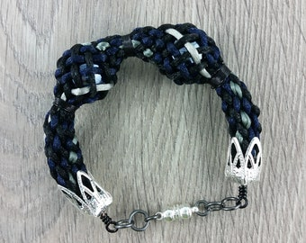 Bracelet: woven braided satin cord and two glass balls; black, grey, blue; gift for him, gift for her