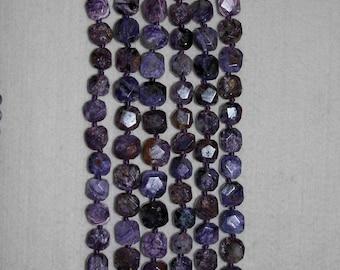 Charoite, Charoite Bead, Smooth Bead, Natural Stone, Purple Octagon Bead, Semi Precious, Russian Bead, HALF Strand, 12 mm, AdrianasBeads