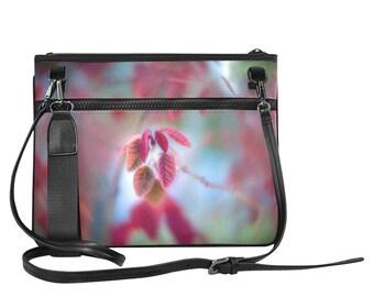 Pink Shoulder Bag, Women's Bag, Nature Inspired bag, Nylon Bag, Water Resistant bag, Crossbody Bag, Designer Bag, Floral Bag, Handbag