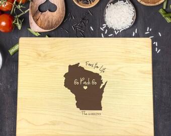 Packers Cutting Board, Greenbay Packers Gift, Personalized Cutting Board, State Cutting Board, New Home Gift, Housewarming Gift, B-0016