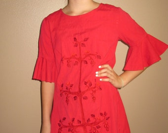 60's Red Tunic/ Bell Sleeves/ Metal Zipper/Unique Details on the front/Size Medium/Cute Top/Handmade