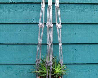 Hanging plant holder macrame made ombre dyed cotton rope.