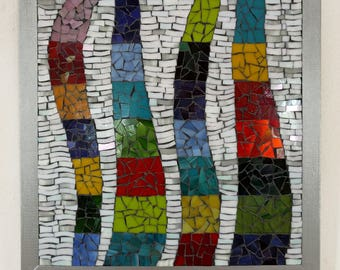 Dancing Colors: Mosaic picture, Stained glass mosaic art, Wall art, Mixed media, home decor, Mosaic glass picture, wall decor, OOAK