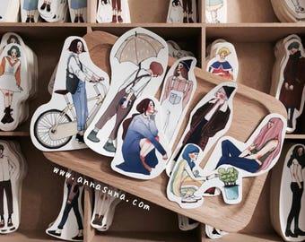 La Dolce Vita persönlichen Aufkleber, Blumenmädchen-Aufkleber-Set, Sommer Mädchen Sticker, Bullet Journal Aufkleber, Fashion Mädchen Sticker