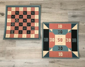 pair vintage linoleum game board floor tiles, mid century folk art style graphics salvaged from a child's room, great for wall art display