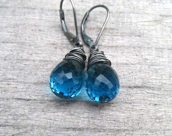 Blue Topaz  Earrings,  December Birthstone Jewelry,  Wire Wrapped In Sterling Silver,  London Blue Stone Dangle Earrings