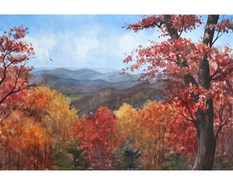 Blue Ridge Mountains Watercolor Print from an Original Landscape Painting by Laura Poss, Three sizes available, Fall Colors Appalachian Art