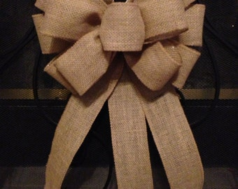 BURLAP BOW Tree Topper, Wedding Bow, Burlap Pew Bow, Burlap Christmas Wreath,  Large Burlap Bow, Christmas Tree Topper,Valentines Bow
