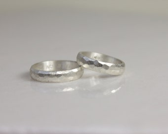 Wedding rings in silver faceted wedding bands friendship rings