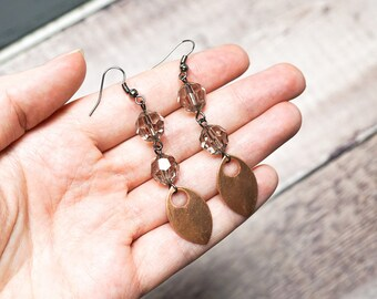 Copper & Crystal Earrings -- Long Beaded Drops -- Faceted Crystal Beads and Copper Charms -- UK Shop
