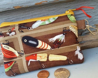 Fishing Luers  Coin Purse, Boys  Zipper Wallet, Kids Change Purse, Ear bud Pouch, Fishing Wallet