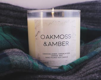 Oakmoss and Amber Soy Candle, Scented candle, Gifts for her, Gifts for him, stocking stuffer