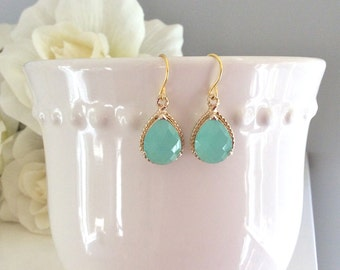 Gold Earrings, Aqua Earrings, Mint Earrings, Bridesmaids Earrings, Bridesmaid gifts, Gifts for her, Best Friend Gifts, Girlfriend Gifts