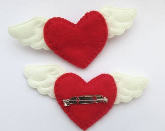 heart with wings, winged heart, red heart brooch, valentines day, heart pin, winged heart brooch, heart brooch, felt heart pin, felt heart
