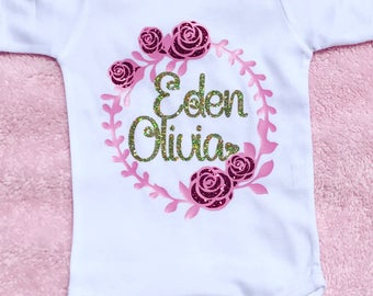 Custom floral Name Onesie