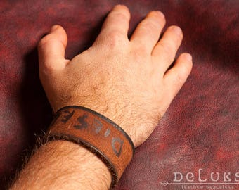Genuine leather bracelet leather cuff men's bracelet men's jewelry men's gift bracelet first class leather wristband brown