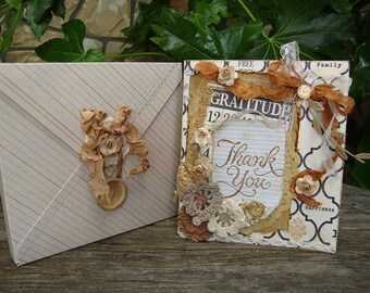 Thank-you card for friend embellished card with envelope box paper art greeting card Cottage chic style