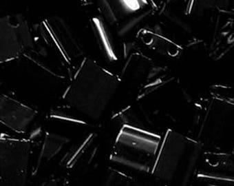Black Miyuki 5mm Square Two Hole Tila Beads 7.2 grams TL401