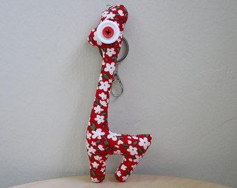 Handmade Fabric Plush Giraffe Keychain (Red)